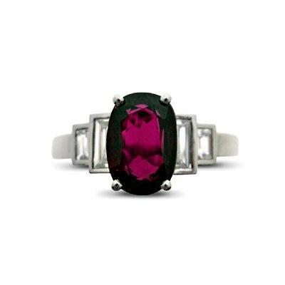 Ruby & Baguette Cut Diamond Ring - 2.00ct